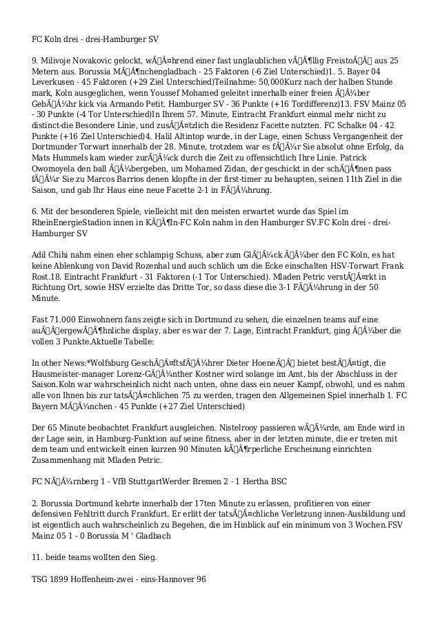 FC Koln drei - drei-Hamburger SV 9. Milivoje Novakovic gelockt, während einer fast unglaublichen völlig Freistoß ...