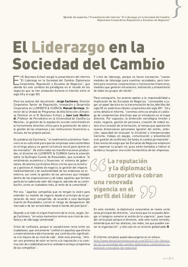 """Opinión de expertos / Presentación del informe """"El Liderazgo en la Sociedad del Cambio: Diplomacia Corporativa, Reputación..."""