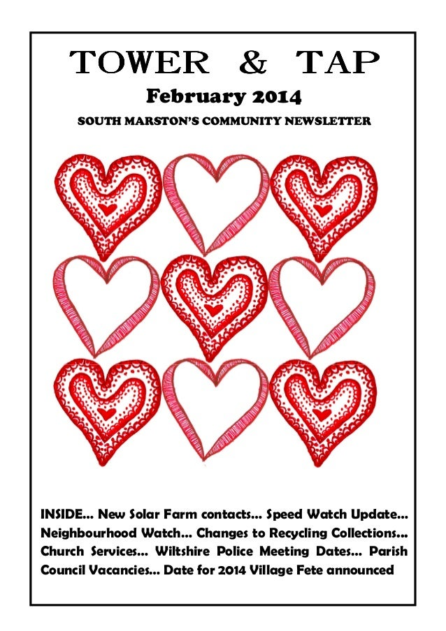 TOWER & TAP February 2014 SOUTH MARSTON'S COMMUNITY NEWSLETTER  INSIDE… New Solar Farm contacts… Speed Watch Update… Neigh...
