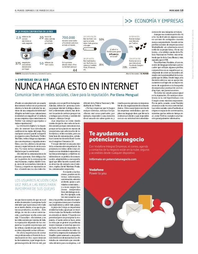 MERCADOS 13  EL MUNDO. DOMINGO 2 DE MARZO DE 2014  LA IMAGEN CORPORATIVA EN LA RED  2,9  millones de correos electrónicos ...