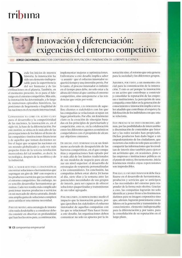 Tribuna de Jorge Cachinero en Compromiso Empresarial