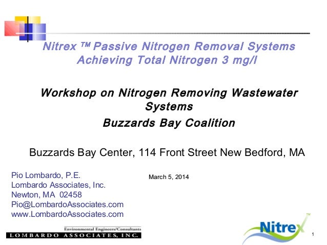 Nitrex  Passive Nitrogen Removal Systems Achieving Total Nitrogen 3 mg/l TM  Workshop on Nitrogen Removing Wastewater Syst...