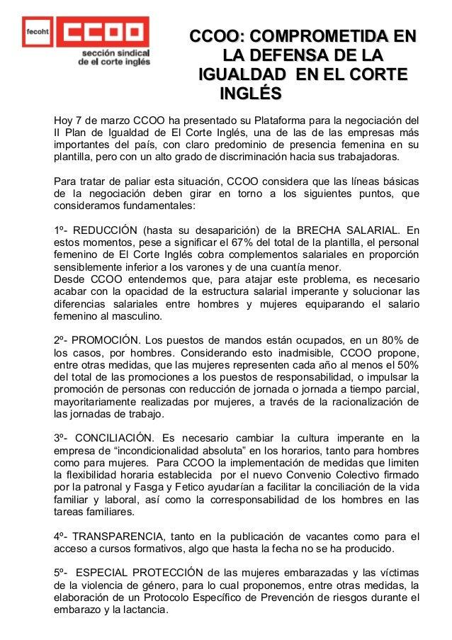 CCOO: COMPROMETIDA ENCCOO: COMPROMETIDA EN LA DEFENSA DE LALA DEFENSA DE LA IGUALDAD EN EL CORTEIGUALDAD EN EL CORTE INGLÉ...