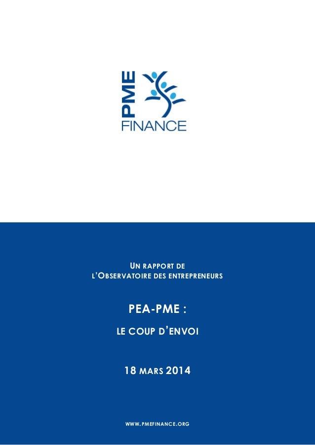 UN RAPPORT DE L'OBSERVATOIRE DES ENTREPRENEURS PEA-PME : LE COUP D'ENVOI 18 MARS 2014 WWW.PMEFINANCE.ORG