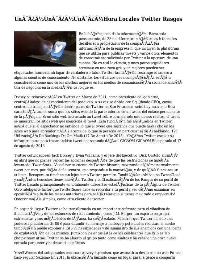 Un�Un�Un�Hora Locales Twitter Rasgos En la búsqueda de la información, Barracuda pensamiento, de 28 d...