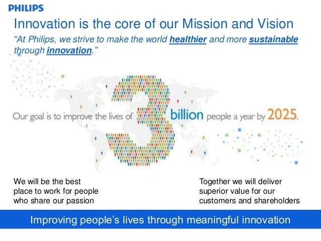 philips vision mission Our new program that will run throughout 2016-2020 reflects our mission to  improve lives of billions by making the world healthier and more sustainable  through.