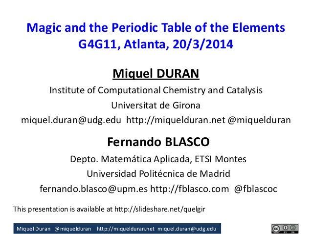 Miquel Duran @miquelduran http://miquelduran.net miquel.duran@udg.edu Magic and the Periodic Table of the Elements G4G11, ...