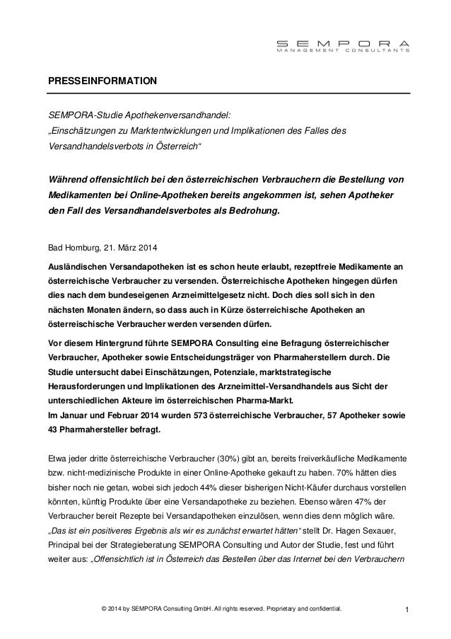 © 2014 by SEMPORA Consulting GmbH. All rights reserved. Proprietary and confidential. 1 PRESSEINFORMATION SEMPORA-Studie A...