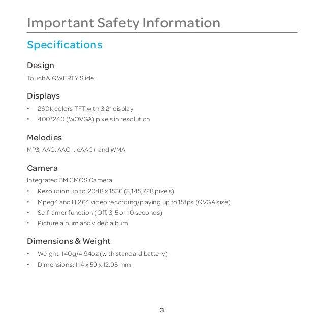 Pantech Vybe Manual / User Guide (English) Slide 3