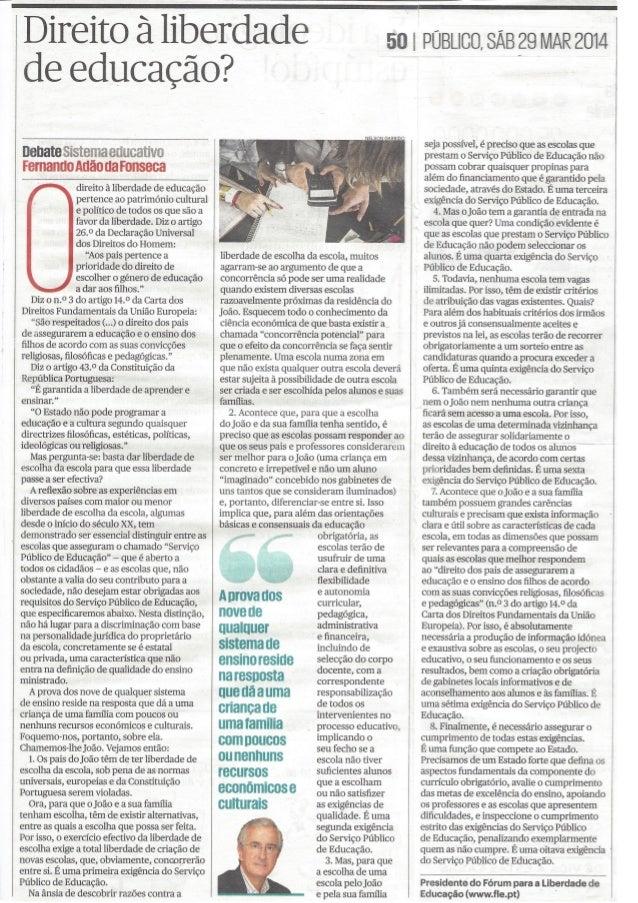 Direito à Liberdade de Educação - por Fernando Adão da Fonseca