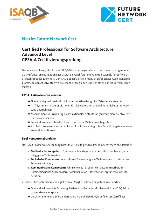 Certified Professional for Software Architecture Advanced Level Neu im Future Network Cert Certified Professional for Soft...