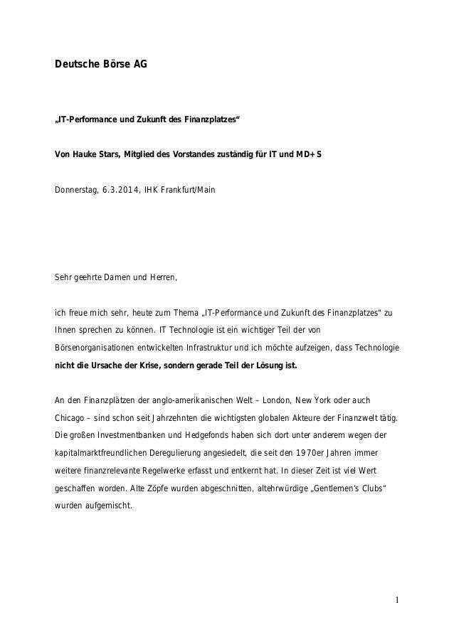 """Deutsche Börse AG  """"IT-Performance und Zukunft des Finanzplatzes""""  Von Hauke Stars, Mitglied des Vorstandes zuständig für ..."""