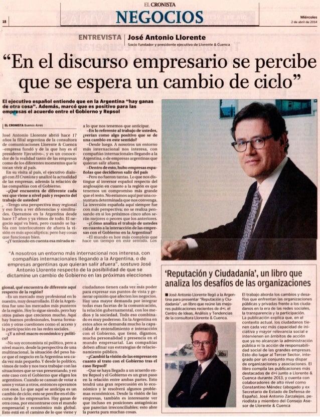 Entrevista a José Antonio Llorente en El Cronista Slide 2