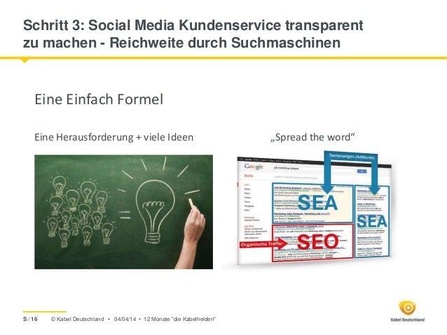 © Kabel Deutschland • Schritt 3: Social Media Kundenservice transparent zu machen - Reichweite durch Suchmaschinen Eine Ei...