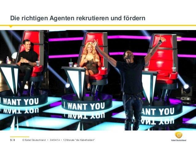 """© Kabel Deutschland • Die richtigen Agenten rekrutieren und fördern 04/04/14 • 12 Monate """"die Kabelhelden""""S / 8"""