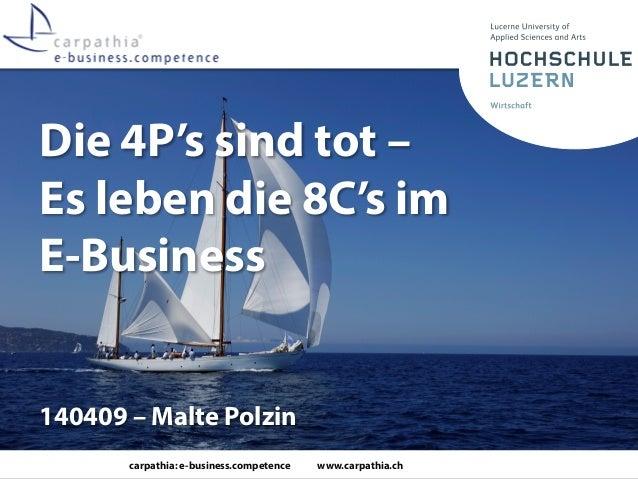 carpathia: e-business.competence www.carpathia.ch Die 4P's sind tot – Es leben die 8C's im E-Business 140409 – Malte Polzin