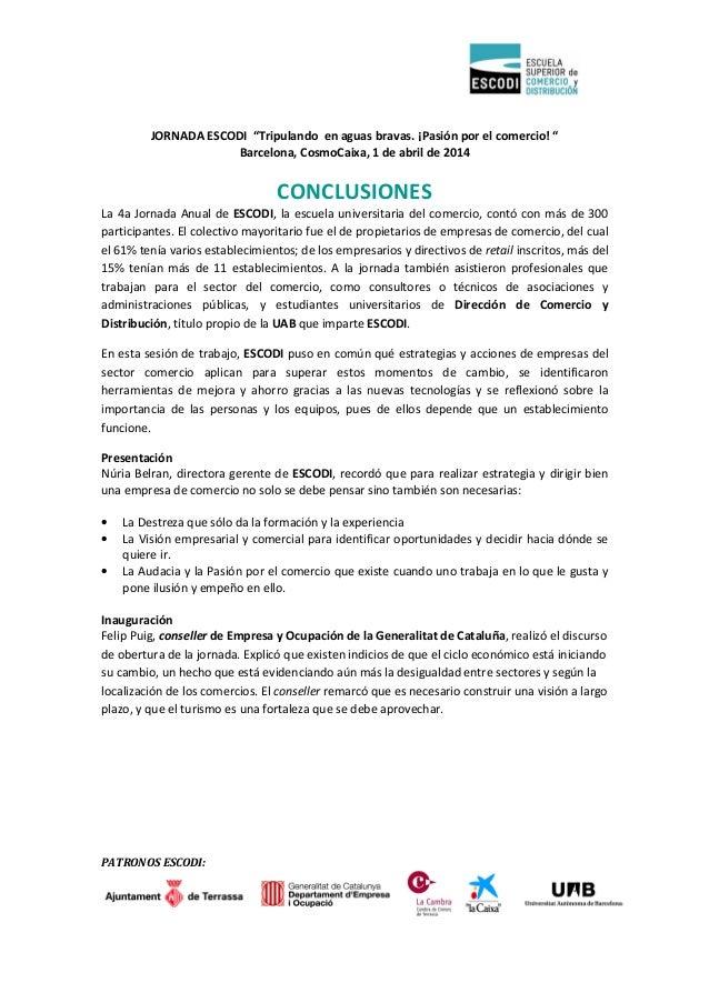 """PATRONOS ESCODI: JORNADA ESCODI """"Tripulando en aguas bravas. ¡Pasión por el comercio! """" Barcelona, CosmoCaixa, 1 de abril ..."""