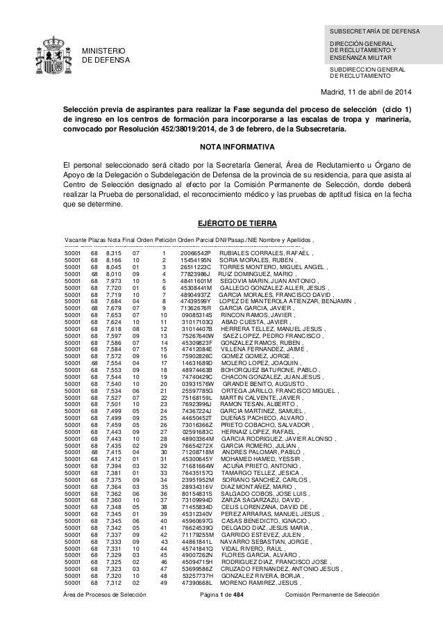 Área de Procesos de Selección Página 1 de 484 Comisión Permanente de Selección MINISTERIO DE DEFENSA SUBDIRECCION GENERAL ...