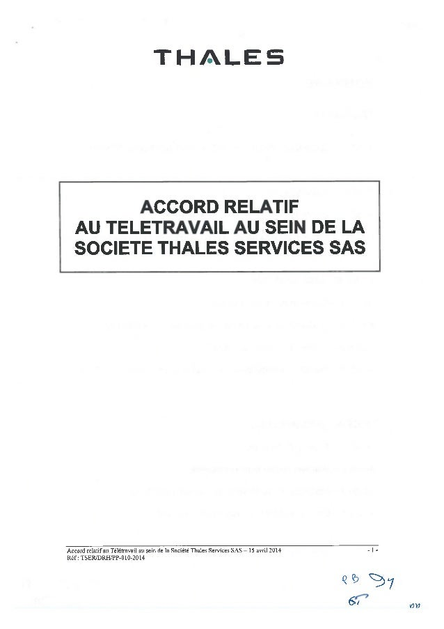 Thalès Services : accord télétravail