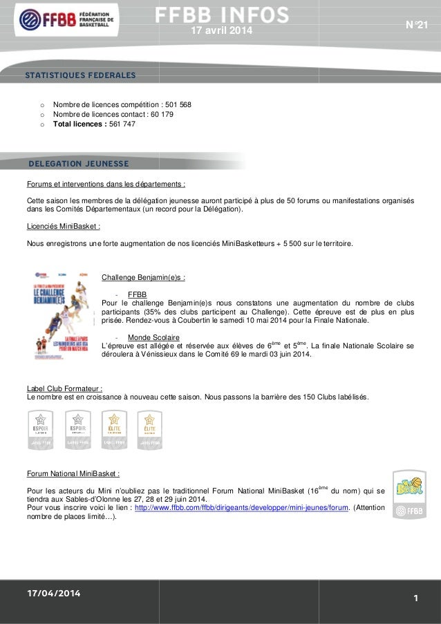 17/04/2014 o Nombre de licences compétition o Nombre de licences contact : 60 179 o Total licences : 561 747 Forums et int...