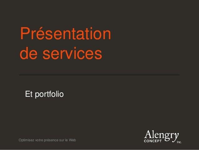 Optimisez votre présence sur le Web Inc. Présentation de services Et portfolio