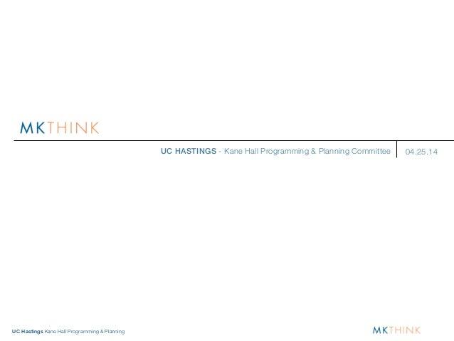 UC Hastings Kane Hall Programming & Planning UC HASTINGS - Kane Hall Programming & Planning Committee 04.25.14