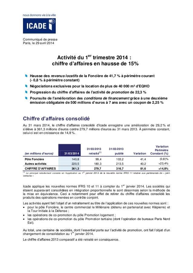 Communiqué de presse Paris, le 29 avril 2014 Activité du 1er trimestre 2014 : chiffre d'affaires en hausse de 15% Hausse d...