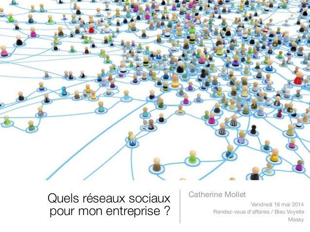 Quels réseaux sociaux pour mon entreprise ? Catherine Mollet Vendredi 16 mai 2014 Rendez-vous d'affaires / Bleu Voyelle Ma...