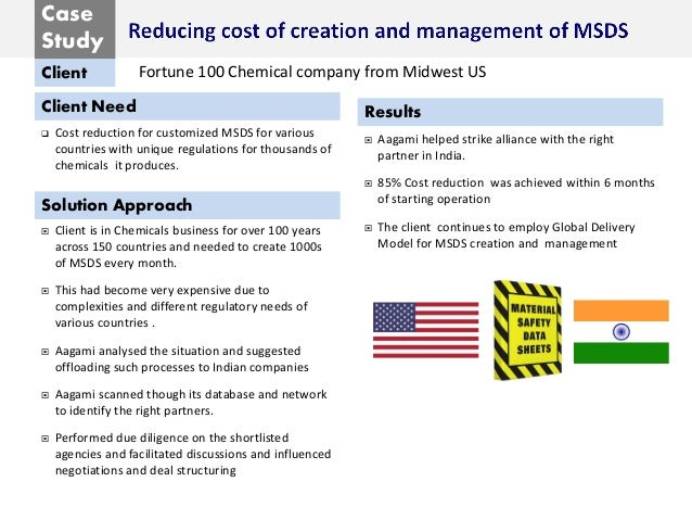 Case Study Client Client Need Solution Approach Results  Cost reduction for customized MSDS for various countries with un...