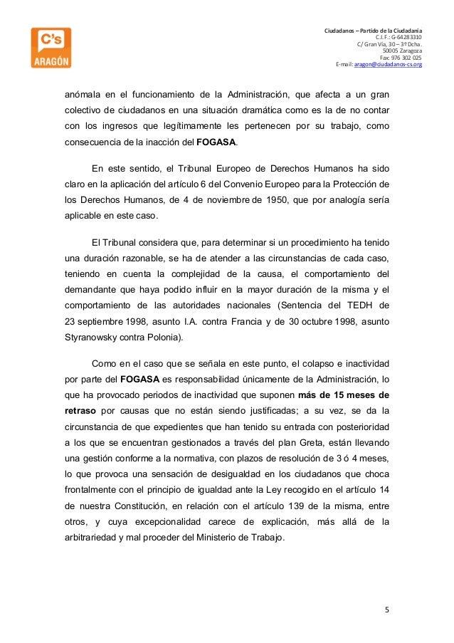 C Ciudadanos – Partido de la Ciudadanía C.I.F.: G-64283310 C/ Gran Vía, 30 – 3º Dcha. 50005 Zaragoza Fax: 976 302 025 E-ma...