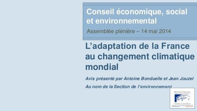 L'adaptation de la France au changement climatique mondial Avis présenté par Antoine Bonduelle et Jean Jouzel Au nom de la...