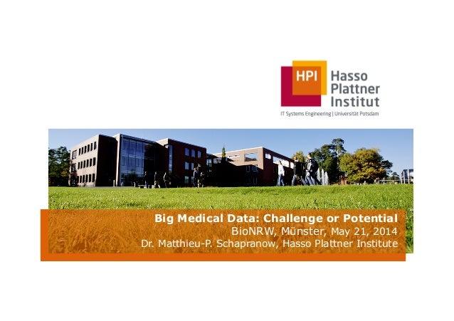 Big Medical Data: Challenge or Potential BioNRW, Münster, May 21, 2014 Dr. Matthieu-P. Schapranow, Hasso Plattner Institute