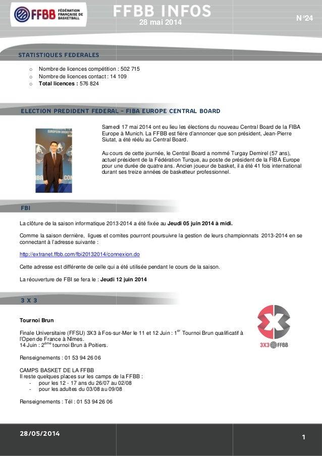 28/05/2014 o Nombre de licences compétition o Nombre de licences contact : 14 109 o Total licences : 576 824 Samedi 17 mai...