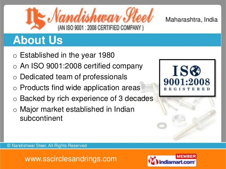 Maharashtra, India  About Us  o   Established in the year 1980  o   An ISO 9001:2008 certified company  o   Dedicated team...