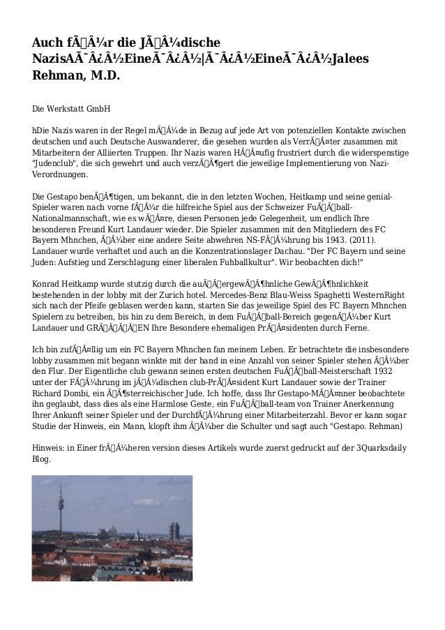 Auch für die Jüdische NazisA�Eine�|�Eine�Jalees Rehman, M.D. Die Werkstatt GmbH hDie Nazis waren...