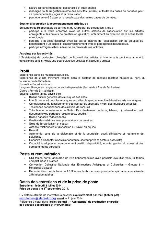 Assistant E De Production Charge E De L Accueil Des Artistes Et Int