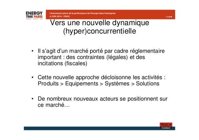 Vers une nouvelle dynamique  (hyper)concurrentielle  • Il s'agit d'un marché porté par cadre réglementaire  important : de...