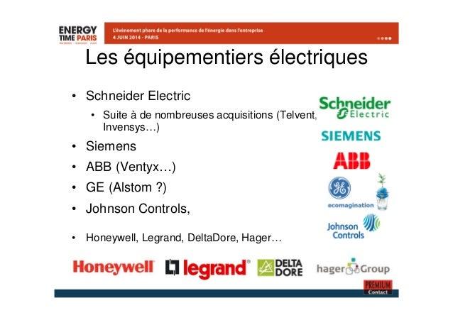 Les équipementiers électriques  • Schneider Electric  • Suite à de nombreuses acquisitions (Telvent,  Invensys…)  • Siemen...