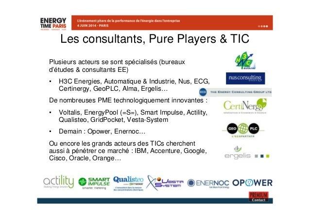 Les consultants, Pure Players & TIC  Plusieurs acteurs se sont spécialisés (bureaux  d'études & consultants EE)  • H3C Ene...