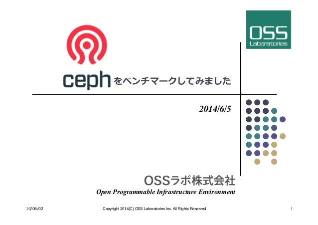 Ceph をベンチマークしてみました 2014/6/5 Open Programmable Infrastructure Environment 14/06/02 Copyright 2014(C) OSS Laboratories Inc....