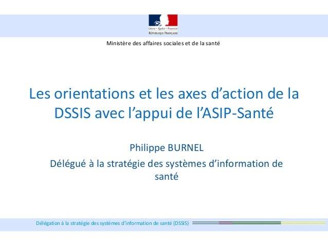 Délégation à la stratégie des systèmes d'information de santé (DSSIS) Les orientations et les axes d'action de la DSSIS av...