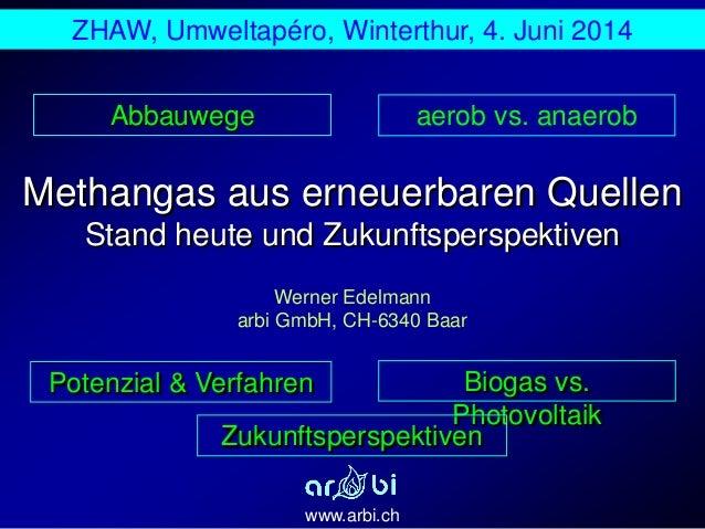 Methangas aus erneuerbaren Quellen Stand heute und Zukunftsperspektiven www.arbi.ch Werner Edelmann arbi GmbH, CH-6340 Baa...