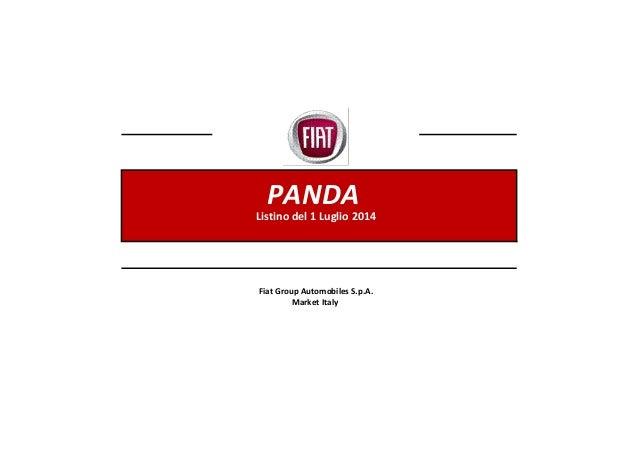 PANDA Listino del 1 Luglio 2014 Fiat Group Automobiles S.p.A. Market Italy