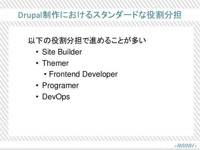 Drupal制作におけるスタンダードな役割分担 以下の役割分担で進めることが多い • Site Builder • Themer • Frontend Developer • Programer • DevOps