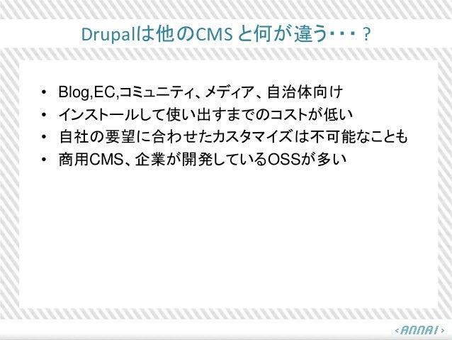 Drupalは他のCMS と何が違う・・・ ? • Blog,EC,コミュニティ、メディア、自治体向け • インストールして使い出すまでのコストが低い • 自社の要望に合わせたカスタマイズは不可能なことも • 商用CMS、企業が開発しているOS...