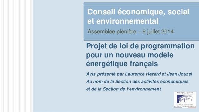 Projet de loi de programmation pour un nouveau modèle énergétique français Avis présenté par Laurence Hézard et Jean Jouze...