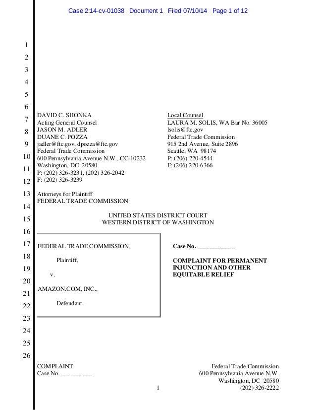 COMPLAINT Federal Trade Commission Case No. __________ 600 Pennsylvania Avenue N.W. Washington, DC 20580 1 (202) 326-2222 ...