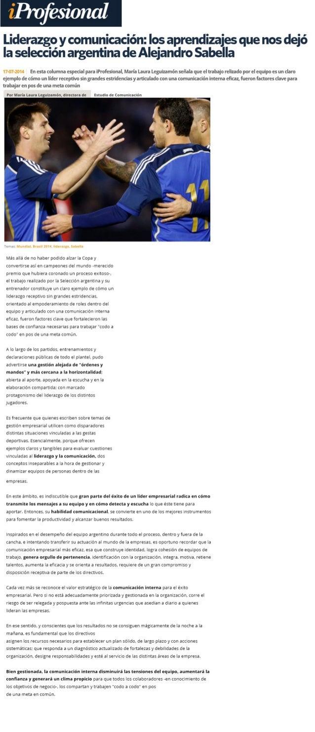 Liderazgo y comunicación: los aprendizajes que nos dejó la selección argentina de Alejandro Sabella