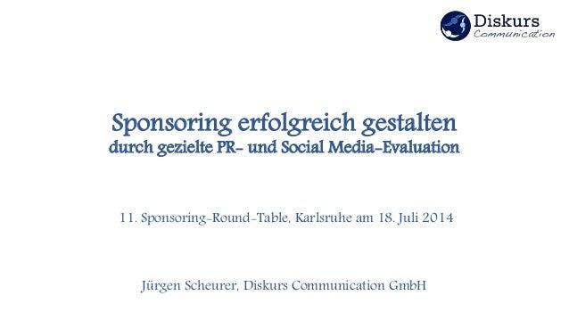 Sponsoring erfolgreich gestalten durch gezielte PR- und Social Media-Evaluation 11. Sponsoring-Round-Table, Karlsruhe am 1...