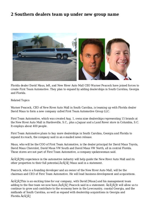 David Maus Chevy >> 2 Southern Dealers Team Up Under New Group Name